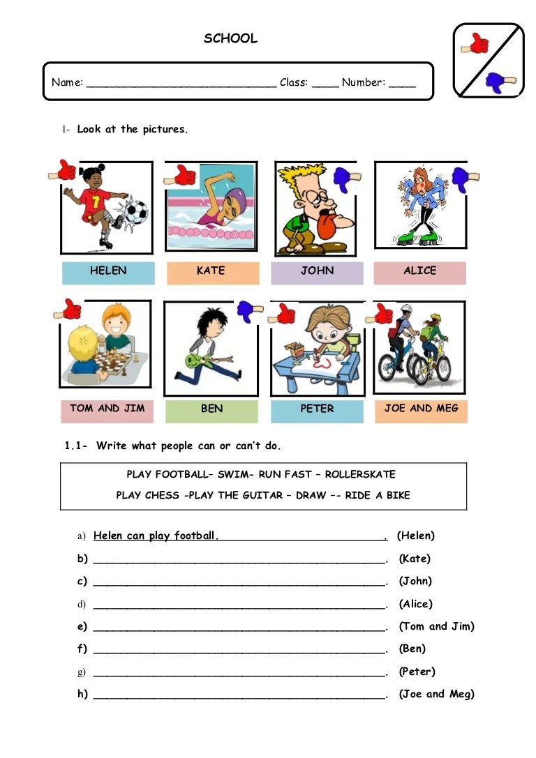 medium resolution of Modal auxiliary verb can: worksheet