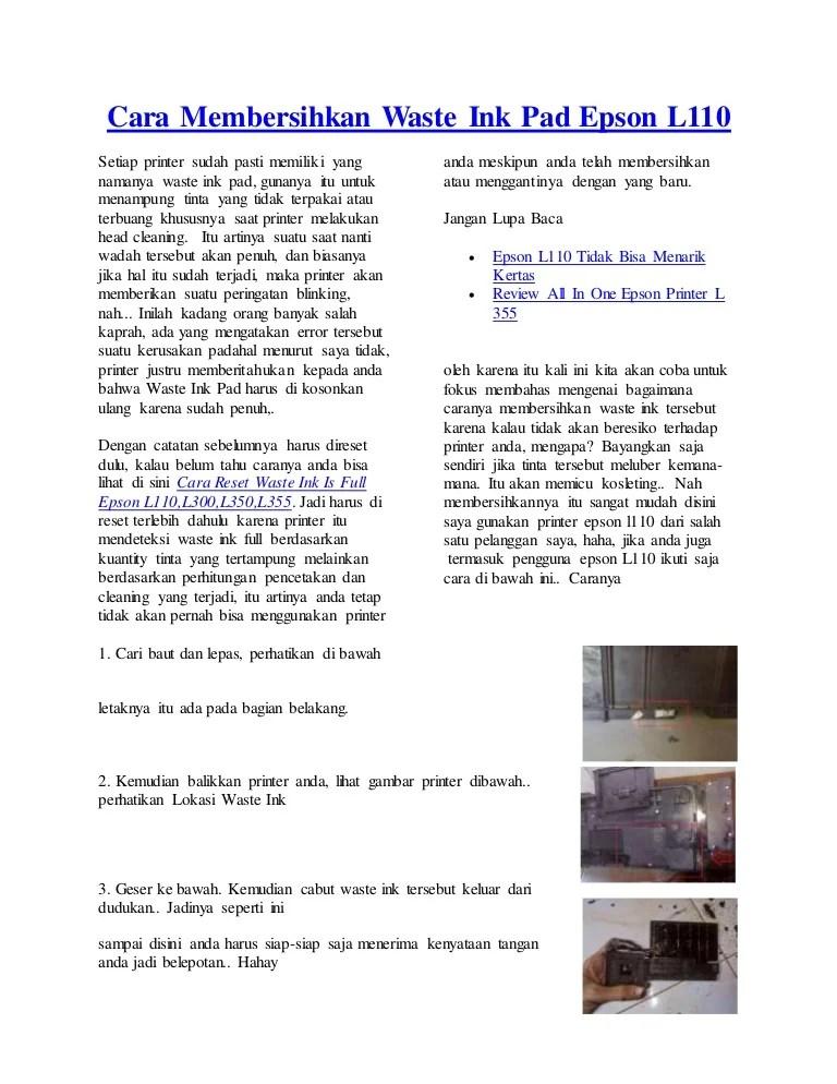 Cara Membersihkan Printer Epson : membersihkan, printer, epson, Membersihkan, Waste, Epson