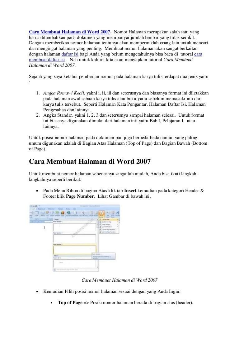 Cara Membuat Nomor Halaman Berbeda di Word untuk Skripsi