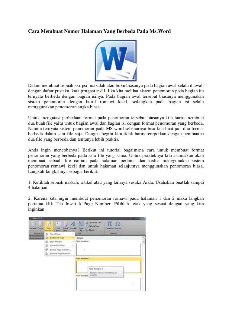 Penomoran Halaman Makalah : penomoran, halaman, makalah, Membuat, Nomor, Halaman, Berbeda, Microsoft, Office