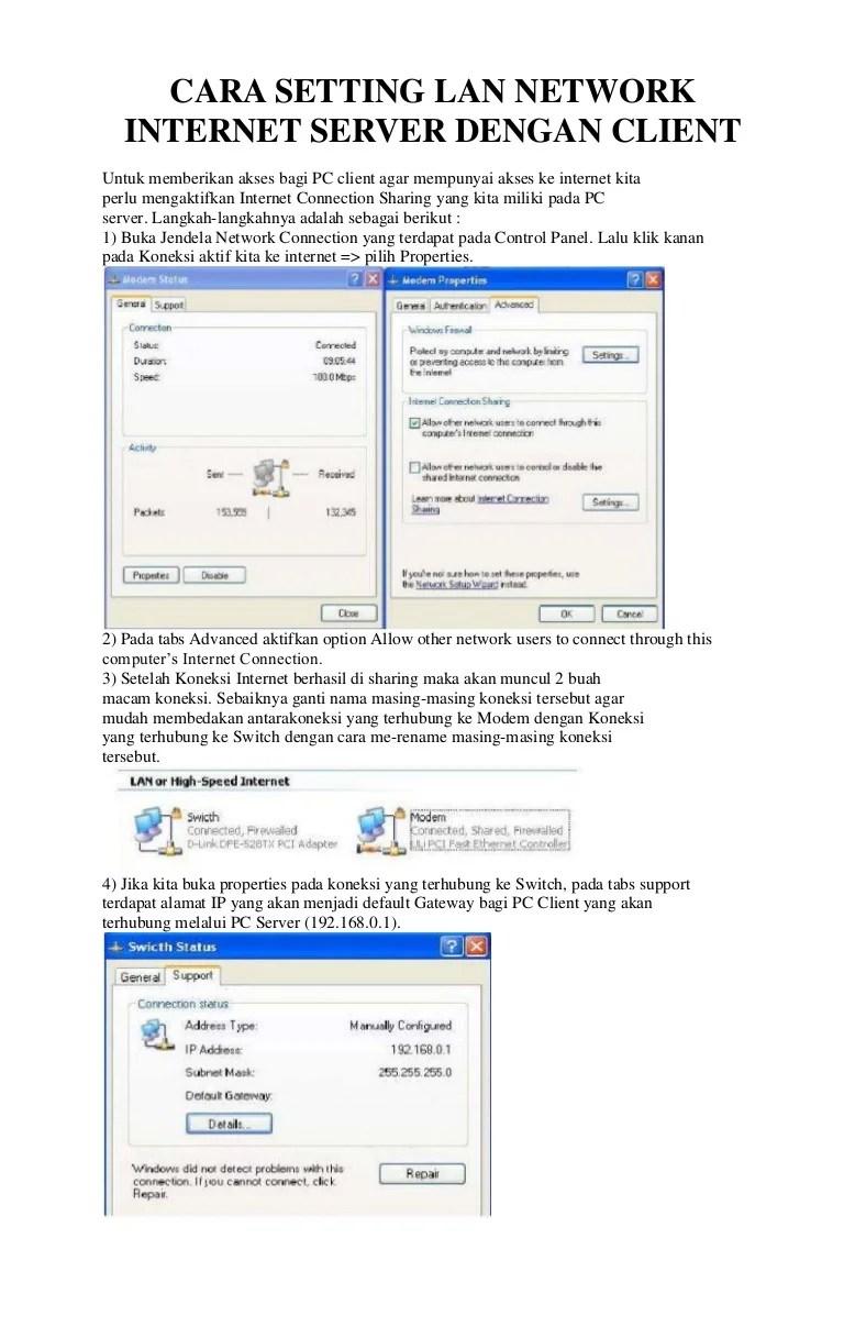 Cara Membuat Komputer Server Dan Client : membuat, komputer, server, client, Setting, Network, Internet, Server, Dengan, Client