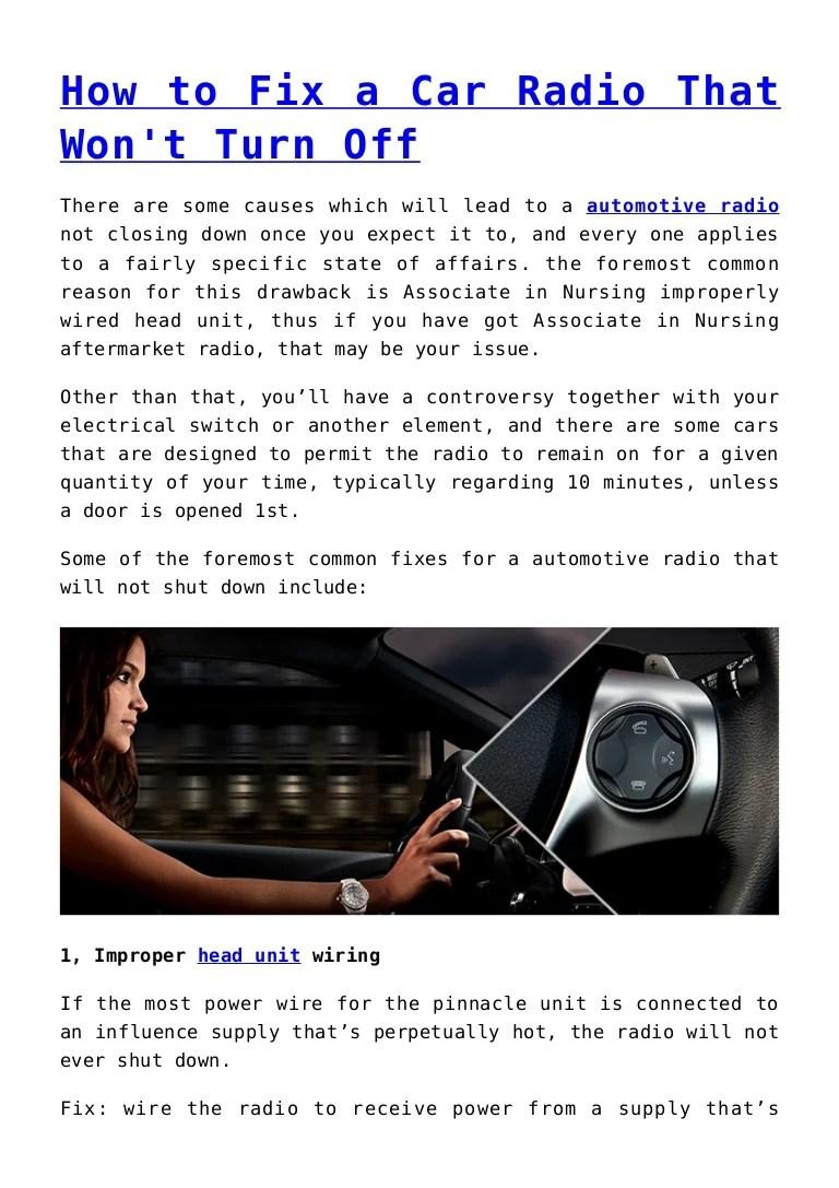 medium resolution of automotive radio wiring