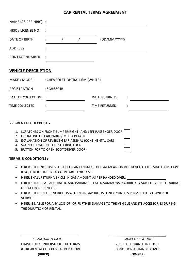 20 Rental Agreement Form Templates Free Sample Example Format