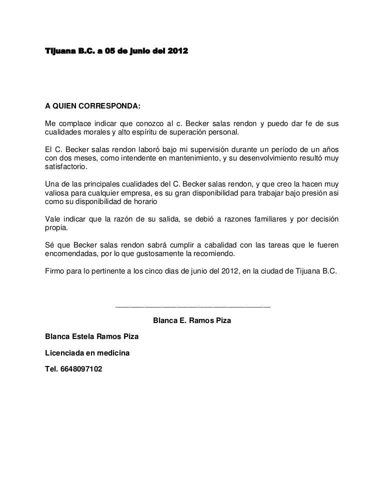 Recomendacion De Carta Hacer Inmigracion Una Como Para