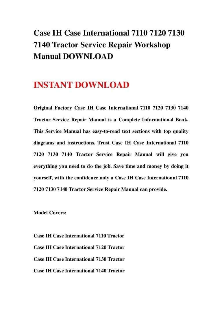 hight resolution of case ih case international 7110 7120 7130 7140 tractor service repair workshop manual