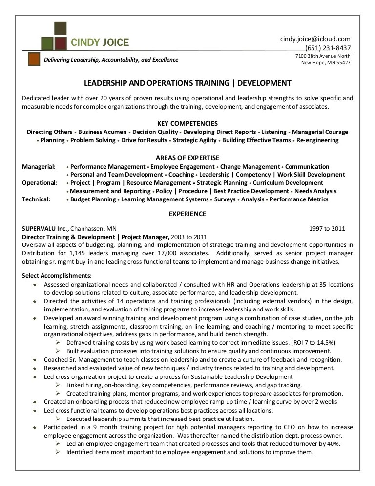 Cindy Joice Resume For Director Of Training And Development