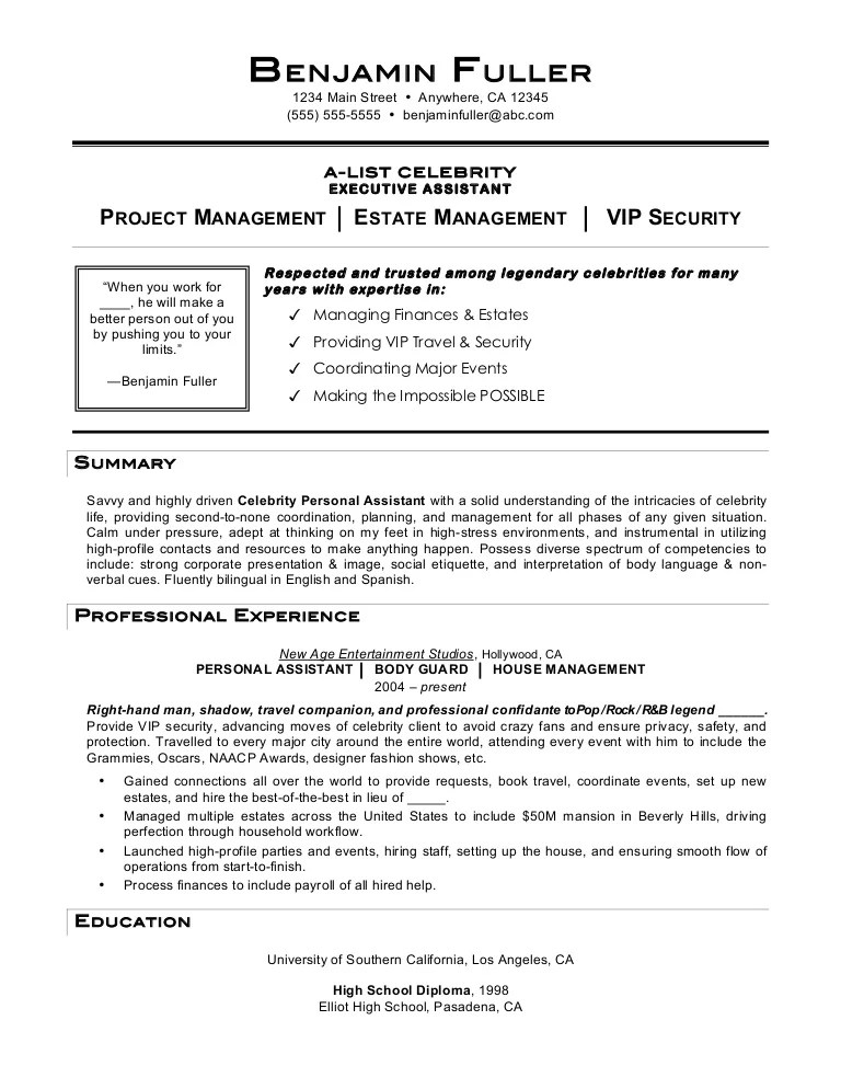 celebrity personal assistant resumes - Personal Assistant Resume