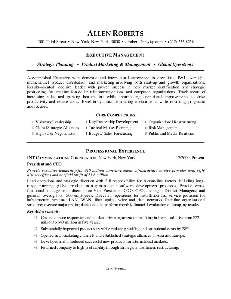 Ceo Resume Template Business Intelligence Resume Sample