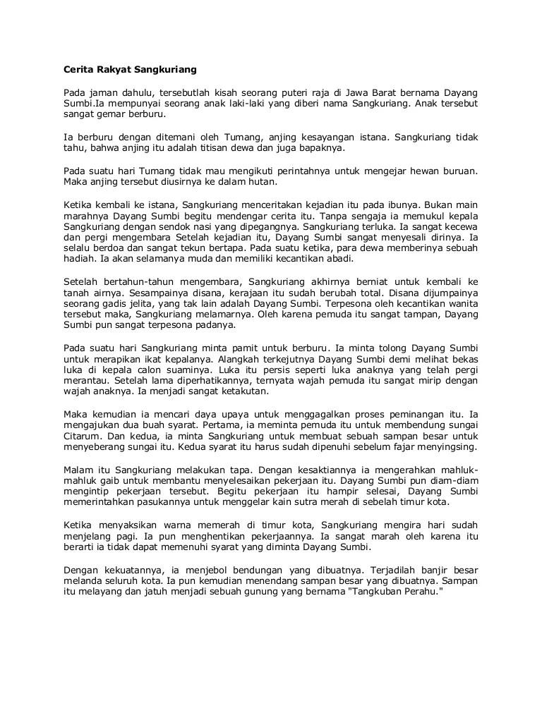 Cerita Singkat Sangkuriang : cerita, singkat, sangkuriang, Cerita, Rakyat, Sangkuriang
