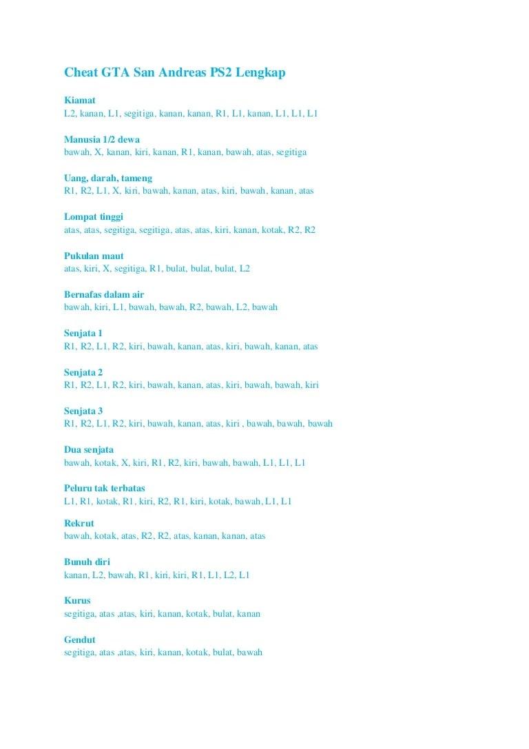 Cheat Gta San Andreas Ps2 Darah Kebal : cheat, andreas, darah, kebal, Cheat, Andreas