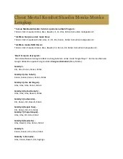 Kode Mortal Kombat Shaolin Monks Ps2 Langsung Tamat : mortal, kombat, shaolin, monks, langsung, tamat, Jenis, Cheat