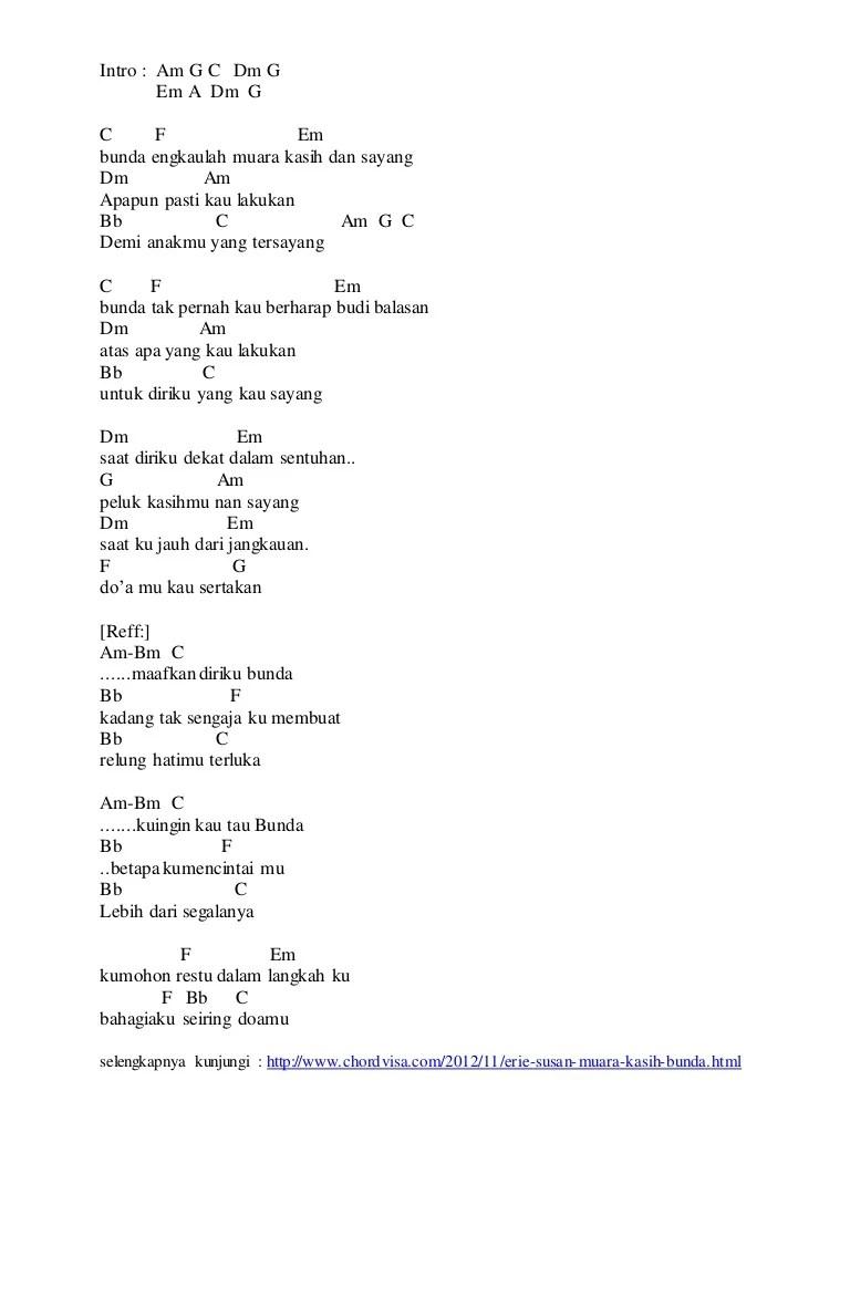 Lirik dan Chord Lagu Muara Kasih Bunda oleh Erie Suzan