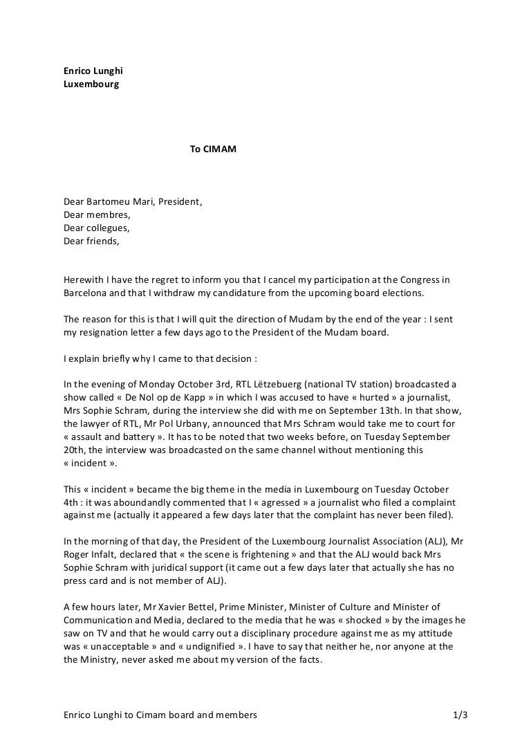 Cimam Letter