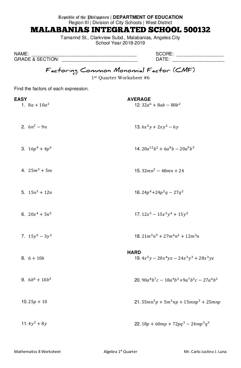 Factoring the Common Monomial Factor Worksheet [ 1175 x 769 Pixel ]