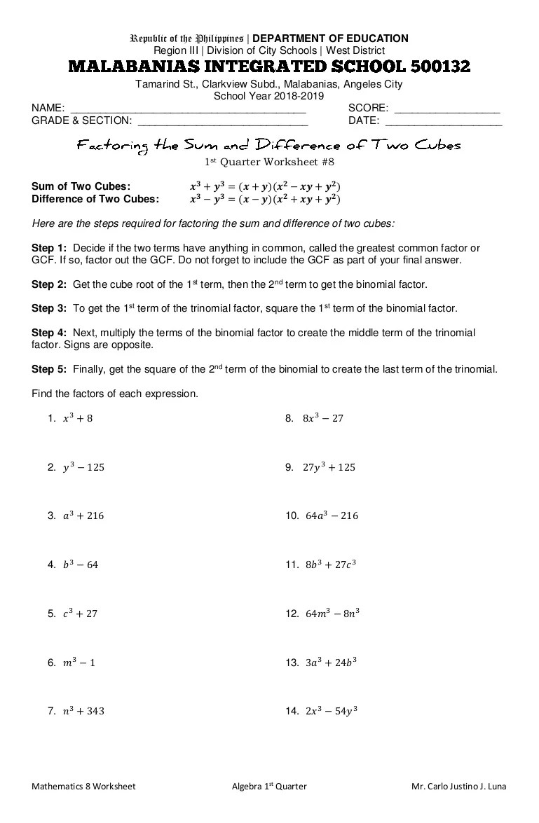 small resolution of Factoring the Sum and Difference of Two Cubes Worksheet