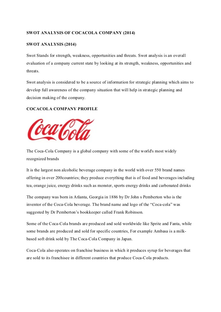 Cocacola Swot Analysis Slideshare 2014