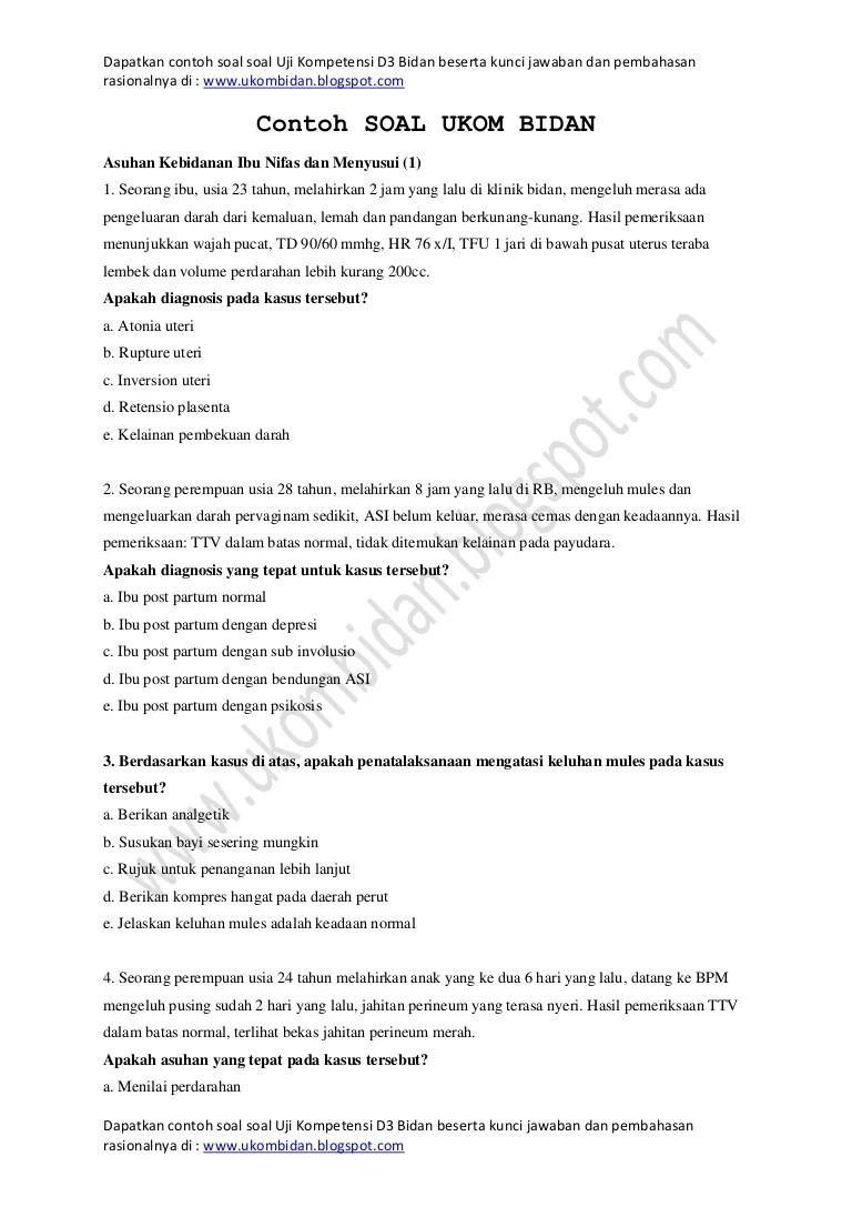 Soal Ujian Masuk Profesi Kebidanan Beserta Jawaban