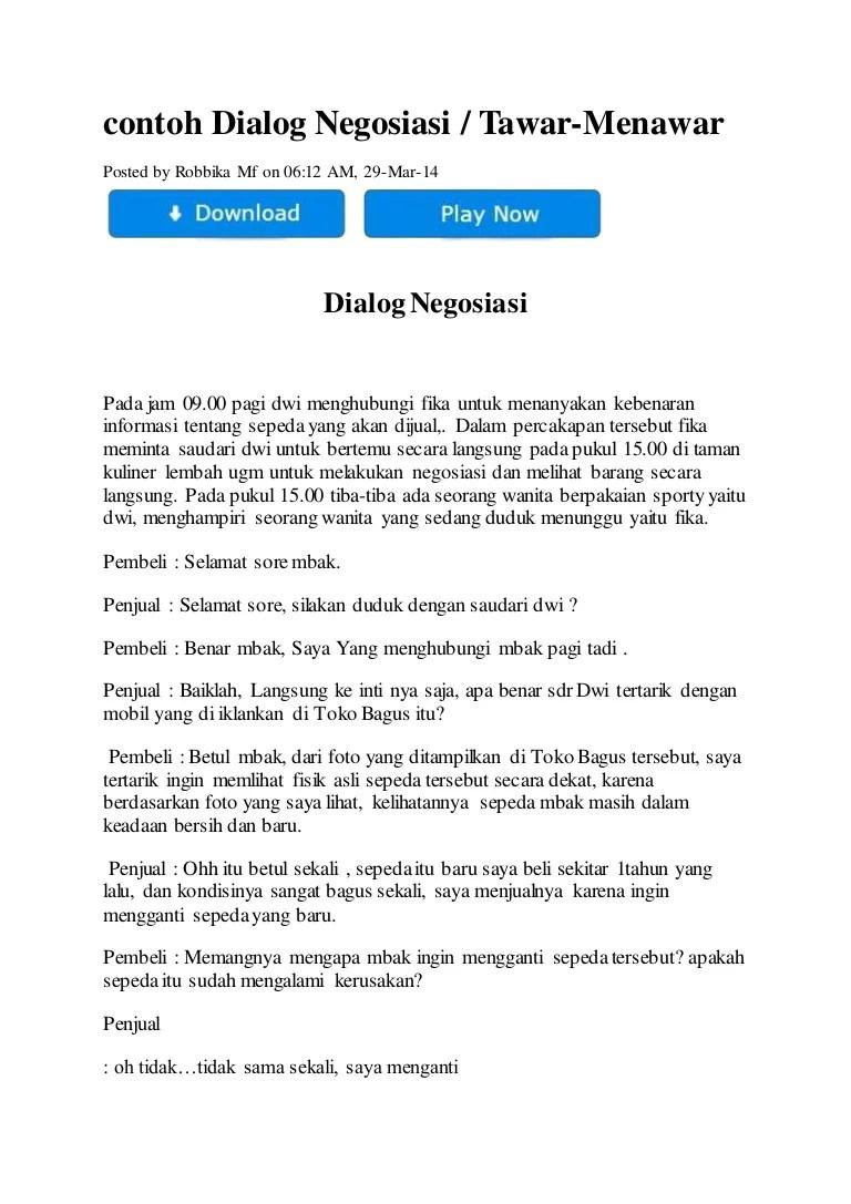 Contoh Dialog Negosiasi : contoh, dialog, negosiasi, Contoh, Dialog, Negosiasi