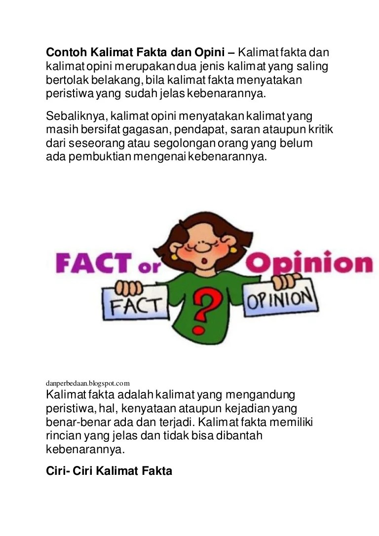 Ciri Kalimat Fakta : kalimat, fakta, Contoh, Kalimat, Fakta, Opini