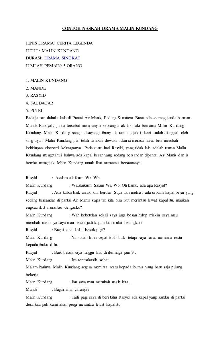 Teks Dialog Malin Kundang : dialog, malin, kundang, Contoh, Naskah, Drama, Malin, Kundang