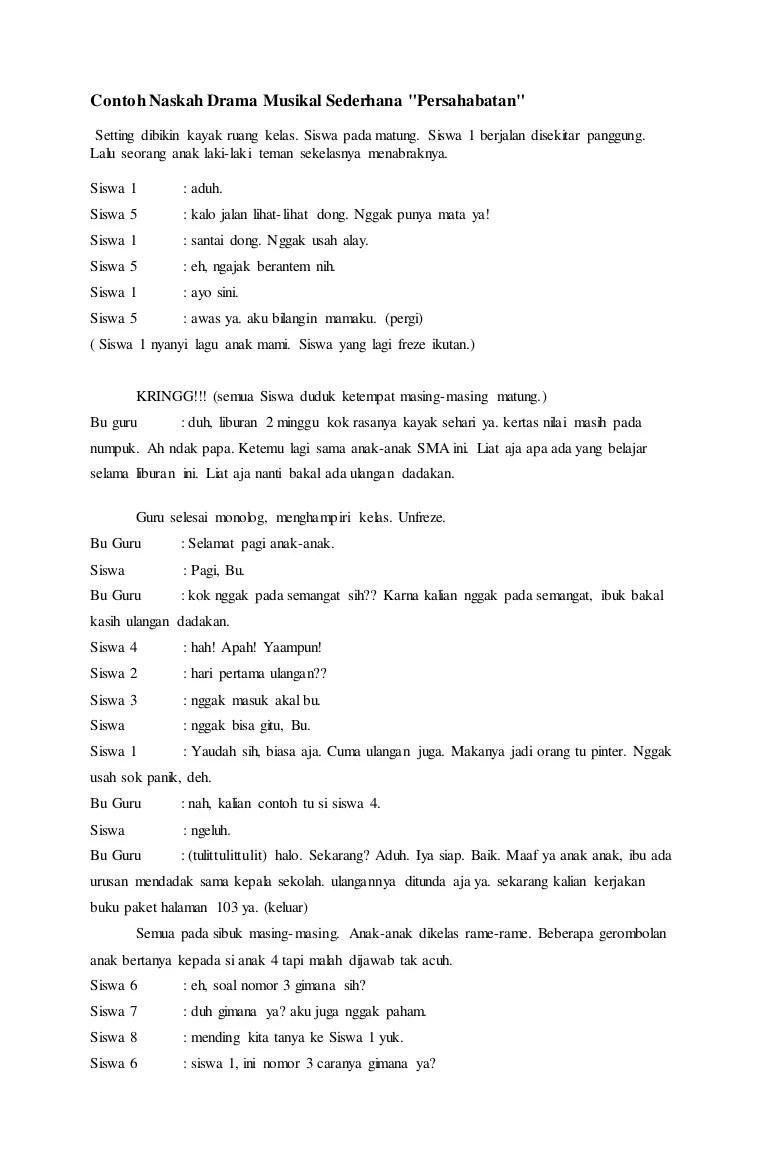 Contoh Drama Musikal : contoh, drama, musikal, Contoh, Naskah, Drama, Musikal, Sederhana