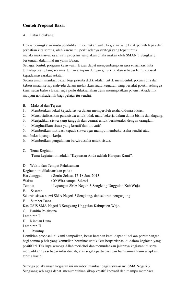 Contoh Proposal Event Bazaar : contoh, proposal, event, bazaar, Contoh, Proposal, Bazar