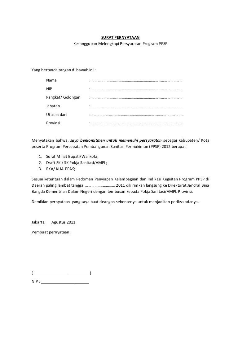 Surat Minat Pekerjaan : surat, minat, pekerjaan, Contoh, Surat, Kesanggupan, Mengikuti, Program