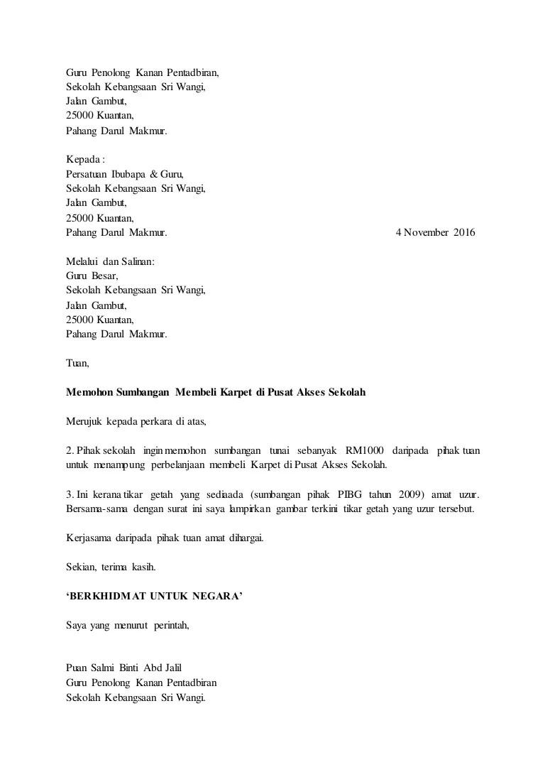 Contoh Surat Memohon Sumbangan Pibg
