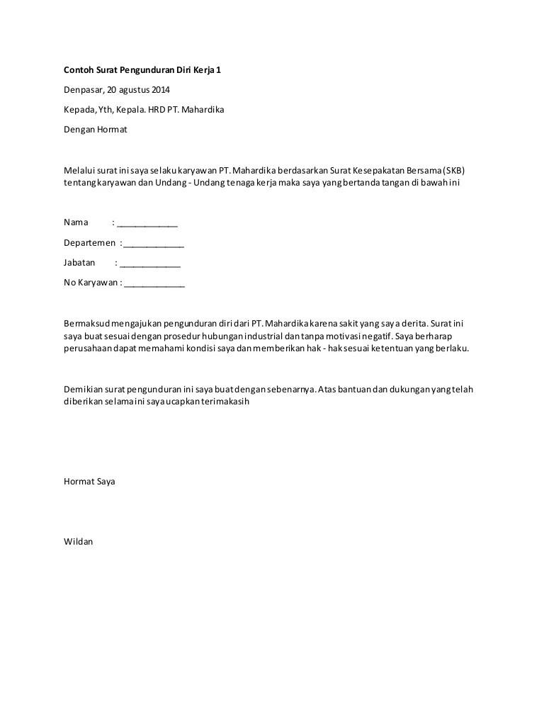 Contoh Surat Mengundurkan Diri : contoh, surat, mengundurkan, Contoh, Surat, Pengunduran, Kerja