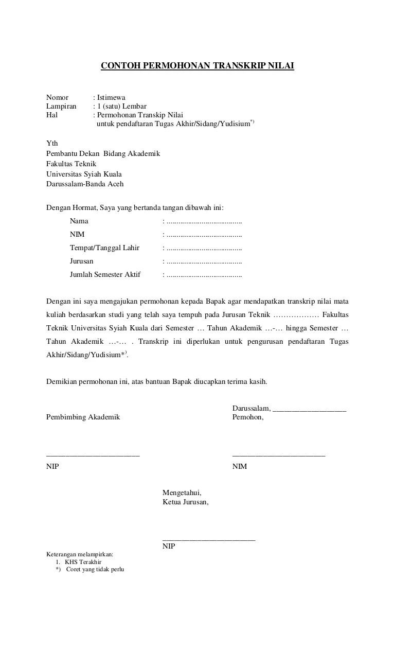 Contoh Surat Cuti Kuliah : contoh, surat, kuliah, Surat, Permohonan