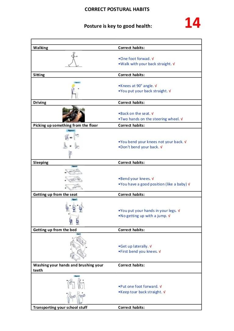 medium resolution of Worksheet \Correct postural habits\