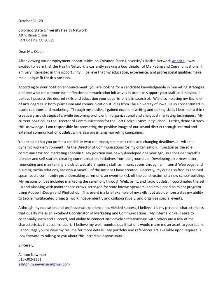 Samples Cover Coordinator Letter Communication