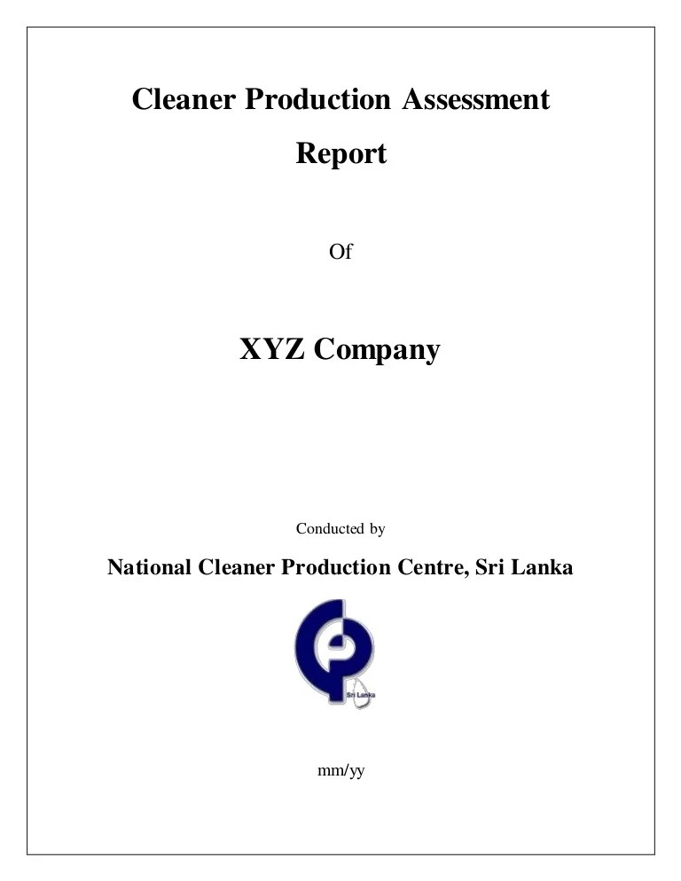 report cover format