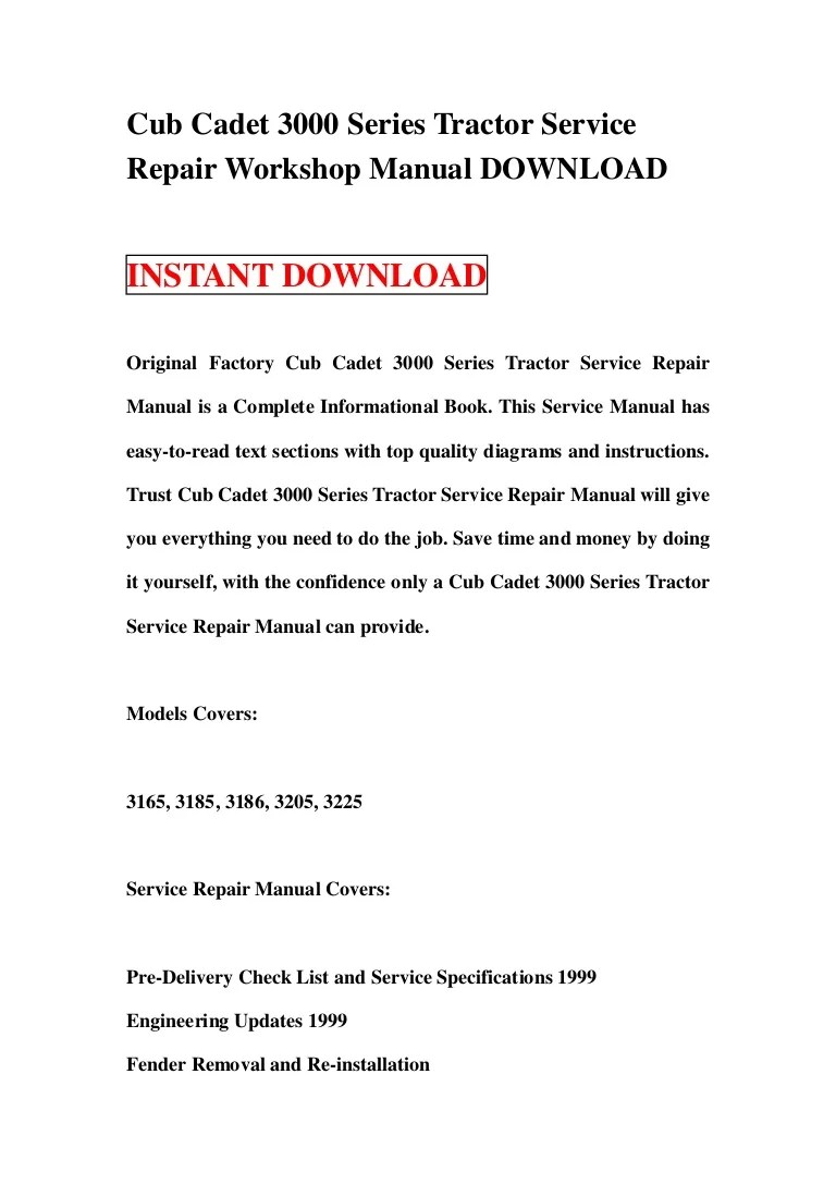 cub cadet 3000 series tractor wiring diagram [ 768 x 1087 Pixel ]