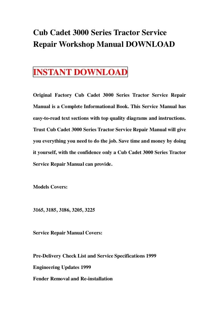 medium resolution of cub cadet 3000 series tractor wiring diagram