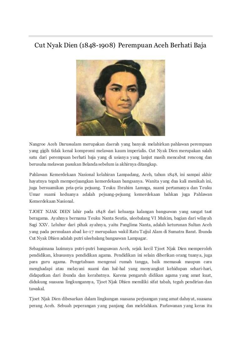Biografi Pahlawan Cut Nyak Dien : biografi, pahlawan