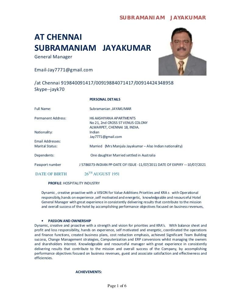resume format pdf for hotel management