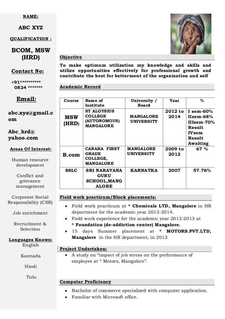 Format Of Resume For Student Freshers Cv Format 2