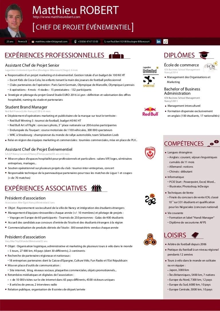 CV Chef De Projet Marketing Événementiel
