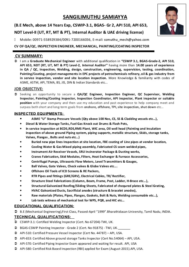 Cv Of Qaqc Inspection Engineer Welding Painting