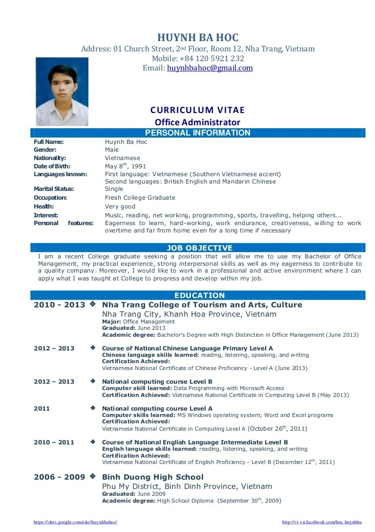 Ba Graduate Resume Sample Cv Resume Sample For Fresh Graduate Of Office Administration