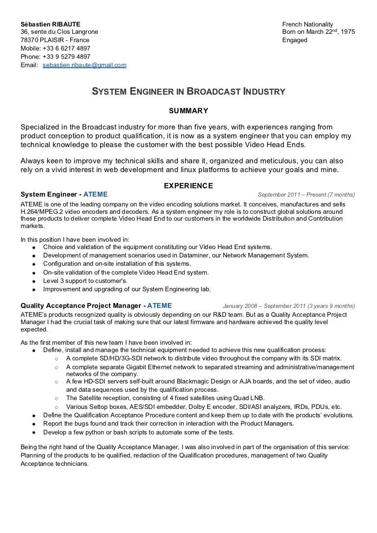 CV Sébastien Ribaute System Engineer In Broadcast Industry