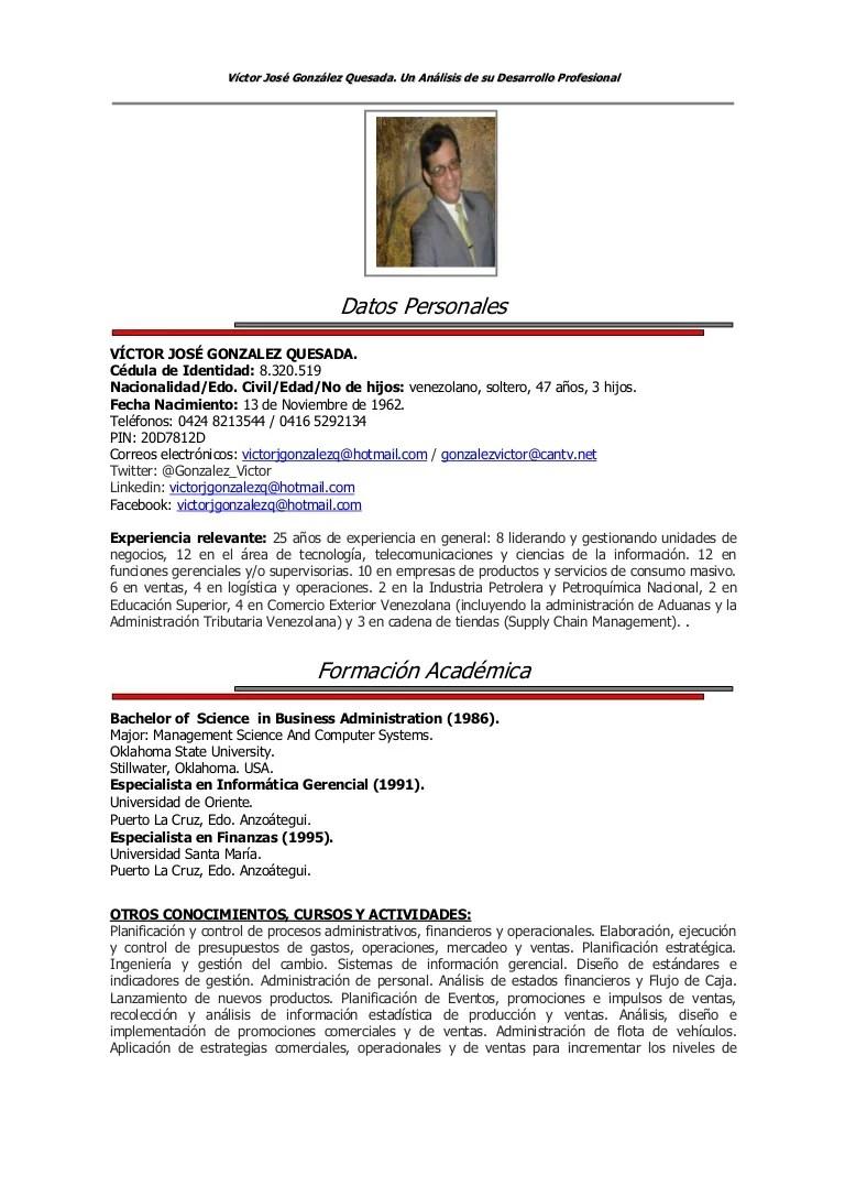 Resúmen Curricular Detallado De Víctor J González Q
