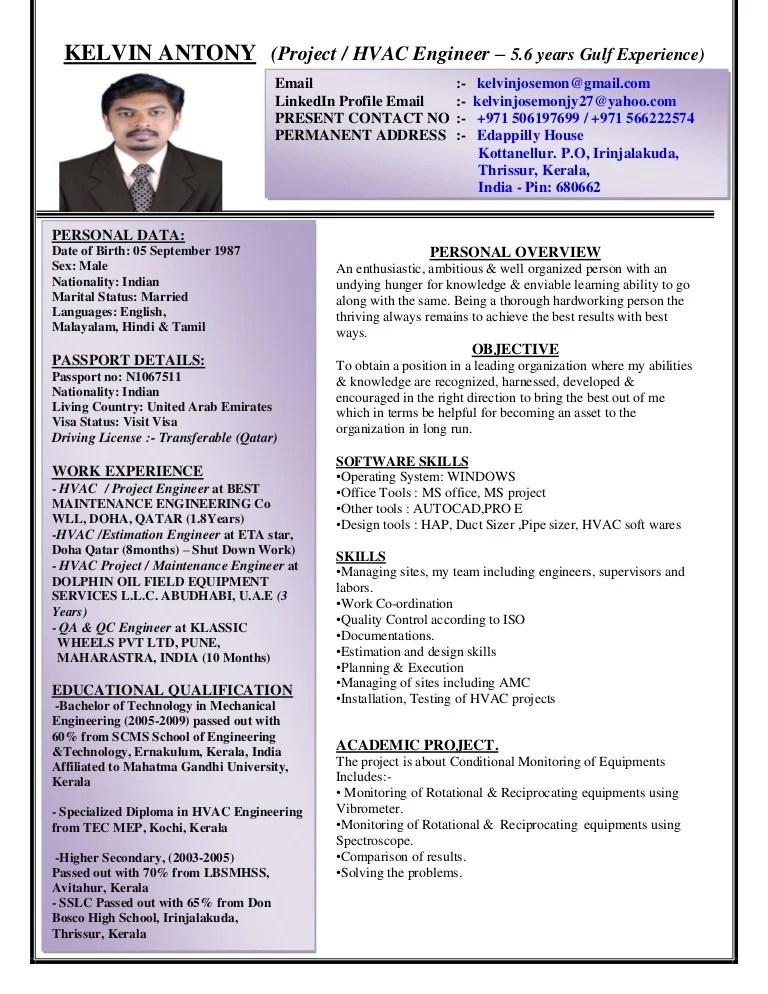 Kelvin Antony CV Project HVAC Engineer With 5 Years