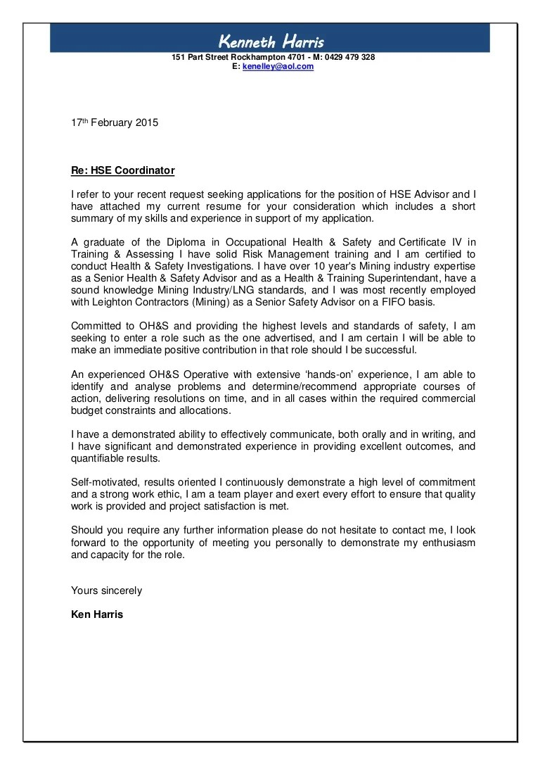 Hse Coordinator Cover Letter Harris Cover Letter