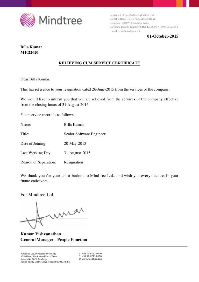 Relieving Cum Service Certificate M1022620
