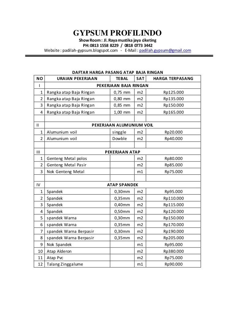 harga rangka atap baja ringan daftar pasang 0813 1558 8229