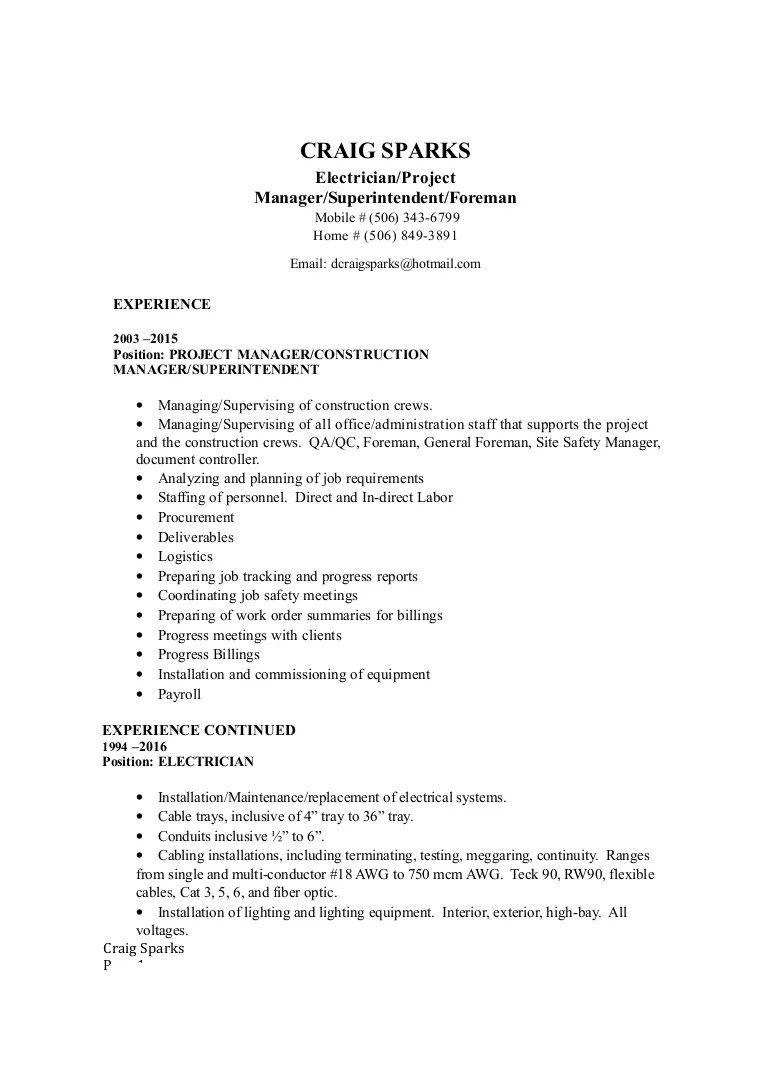 Electrician Foreman Resume Craig Sparks Resume April 2016 Electrician Supervisor Manager