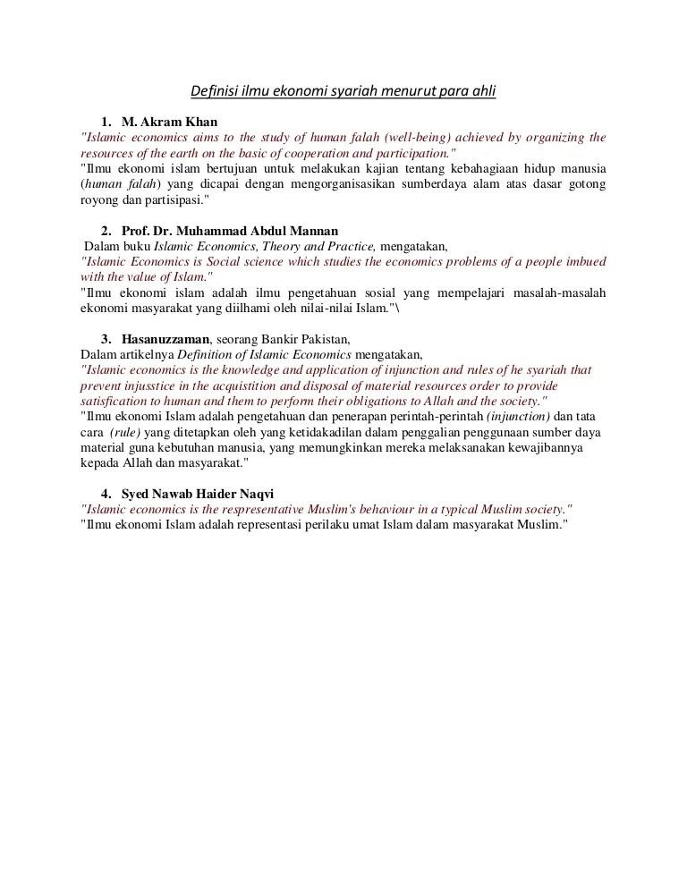 Tebet dalam iv e no.70, rt.20/rw.1, tebet bar., kec. Definisi ilmu ekonomi syariah menurut para ahli