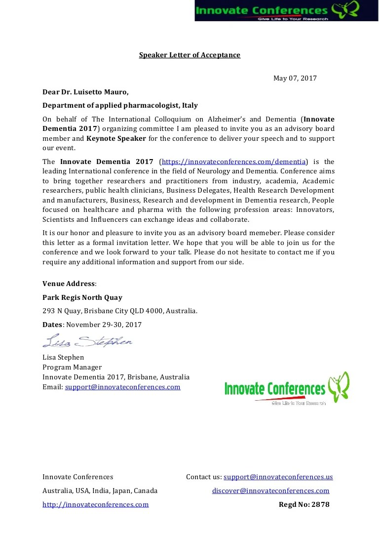 Dementia Ocm Letter Of Invitation Innovate Conference 2017